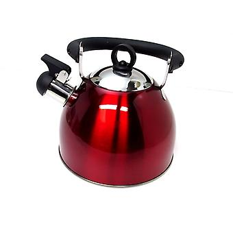 Rote Edelstahl Pfeifen Wasserkocher 2.5L Herd Top Hob Kitchenware Tee Camping
