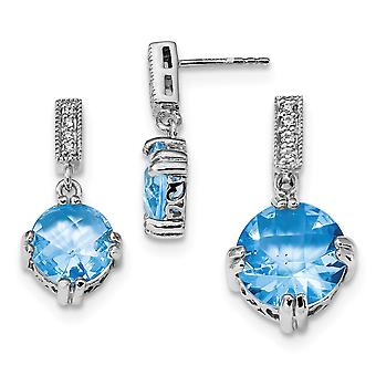 925 Sterling Silver Polished Post Earrings Blue and Clear CZ Cubic Zirconia Simulated Diamond Pendant Necklace and Earri