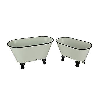 Black and White Enamel Vintage Bathtub Containers Set of 2