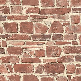 Stone Wall Wallpaper Red Rasch 265613