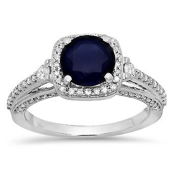 14K Round 7.5 MM Blue Sapphire et White Diamond Ladies Halo Engagement Ring, White Gold