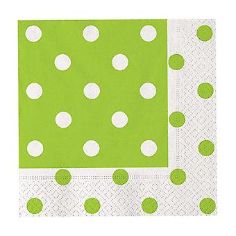 Apple Green Polka Dots 33cm 3ply Lunch Napkins