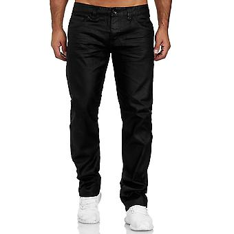Mens Jeans Coated Denim Leather Look Trousers Cotton Over Plus Size Wax Pants