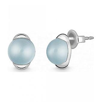 Quinn - Silver stud earrings with blue topas - 036202958
