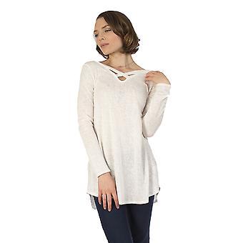 Women's Burnout Long Sleeve Shirt Criss Cross Top