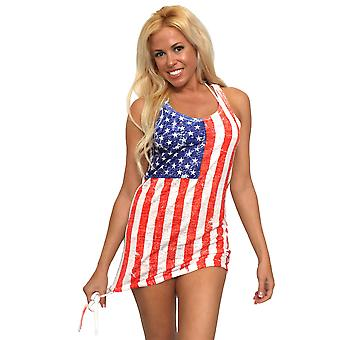 ST863-DSS1 - Shore Trendz Frauen's USA Distressed Flagge Burnout Tank Kleid