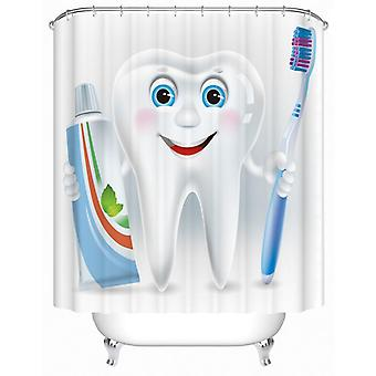 Animated Tooth Character Shower Curtain