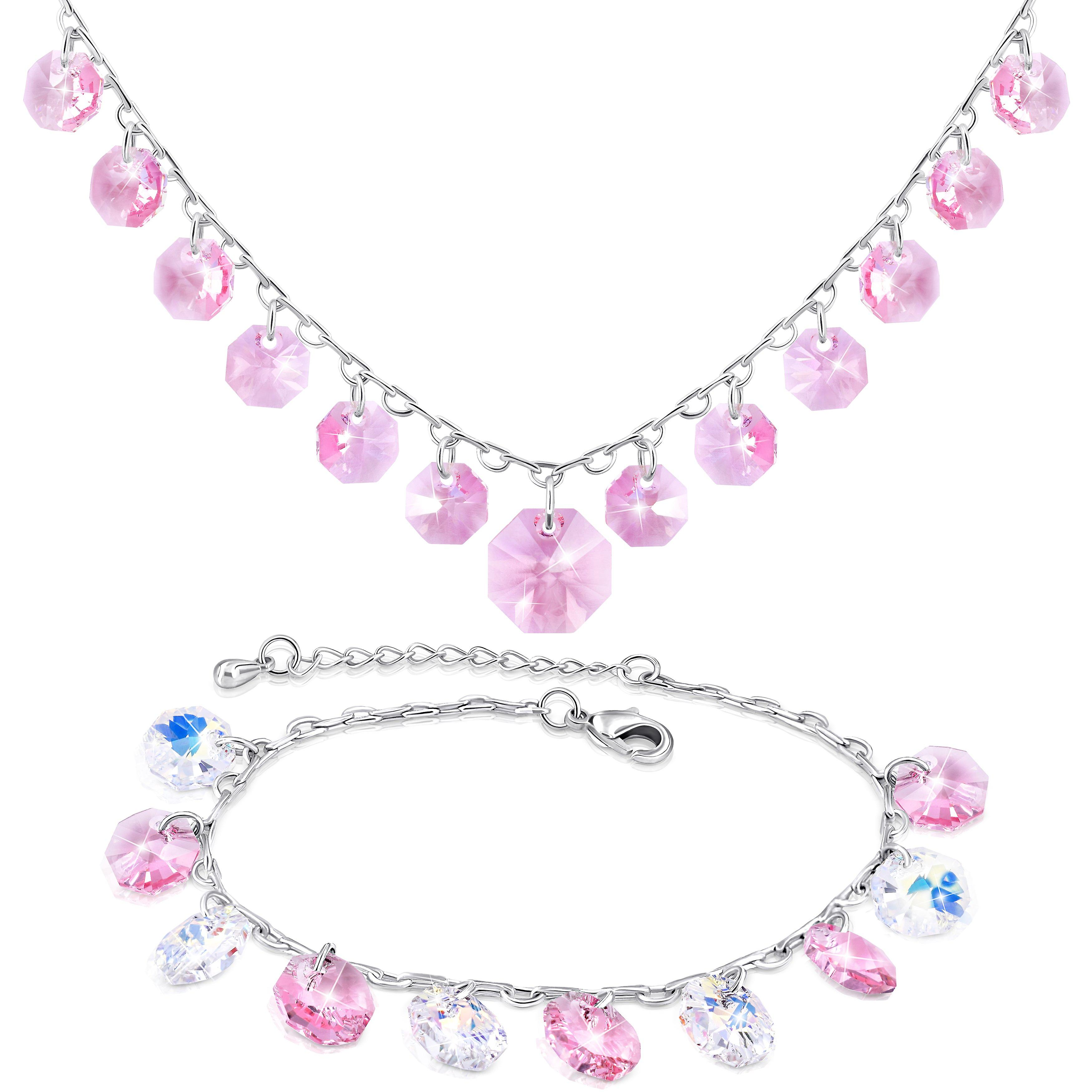 Jewellery set bracelet and necklace with swarovski crystal. rhodium plated. by 2splendid. gift box included. bnqz013