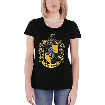 Harry Potter T Shirt Hufflepuff logo Official Womens New Black Skinny Fit
