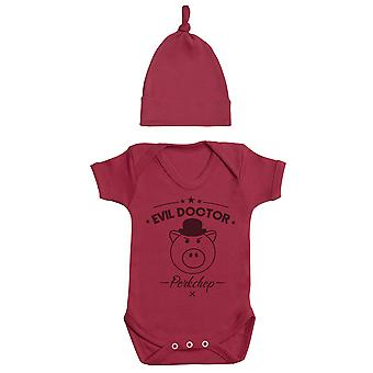 Evil Doctor Porkchop, Red Baby Bodysuit, Red Baby Tietop Hat, Baby Outfit