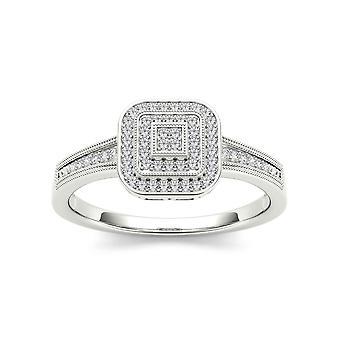 Igi certified solid 10k white gold 0.14 ct diamond halo engagement ring