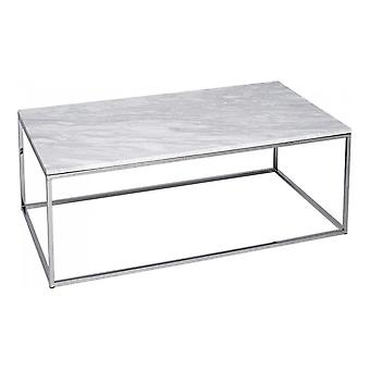 Gillmore White Marble And Silver Metal Contemporary Rectangular Coffee Table