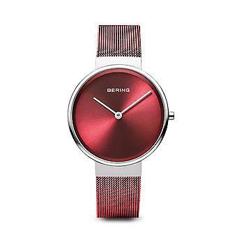 Uhr Bering 14531-303 - Heller Stahlrahmen rot Zifferblatt rot Stahl Armband rot Frauen