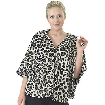 Ladies Fleece Animal Print Poncho Style Bed Jacket Nightwear Loungewear