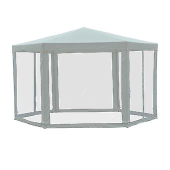 Outsunny Netting Gazebo Hexagon Tent Patio Canopy Outdoor Shelter Party Activities Shade Water Resistant (Creamy White)