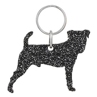 Black Jack Russell Glitter Acrylic Keyring