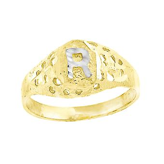 10k Two tone Gold baby for boys or girls Initial R Band Ring  Measures 7.5x2.20mm Wide  Size 5