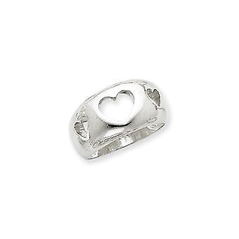 925 Sterling Argento polacco Aperto Cuore Amore Cuore Taglio Anello Regali gioielli per le donne - Dimensione anello: da 6 a 8