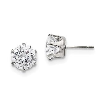 Stainless Steel Polished 9mm Round CZ Cubic Zirconia Simulated Diamond Stud Post Earrings Jewelry Gifts for Women
