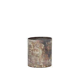 Licht & Leben Teelicht 8x9cm - Ghisai mattiert weiß-Kupfer Rost Ring