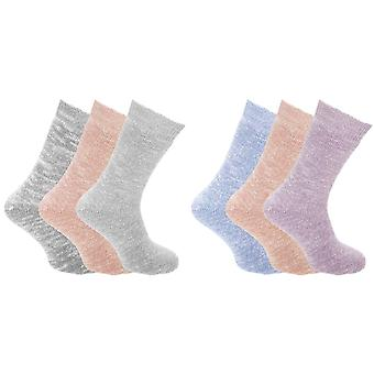 Womens/Ladies Wool Blend Chunky Knit Outdoor Boot Socks (3 Pairs)