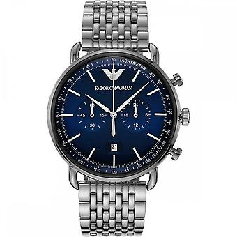 Armani Watches Ar11238 Blue & Silver Stainless Steel Chronograph Men's Watch