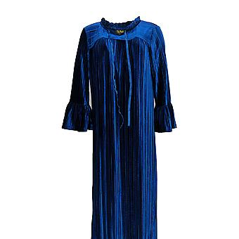 Bob Mackie Women's Pleated Velvet Robe Ruffle Neck /Slvs Blue A344980