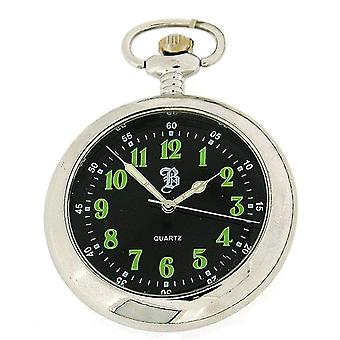 Boxx Mens Analogue Silver Tone Black Dial Pocket Watch 12