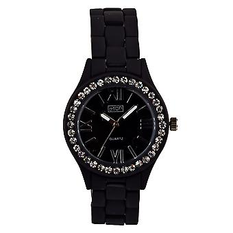 Eton Fashion Watch, Diamante Bezel, Black Rubber Touch Finish 3166L-BK