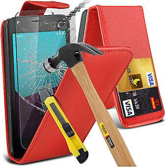 i-Tronixs Vodafone First 7 Case Cover PU Leather Flip Case + Glass Screen Protector -Red