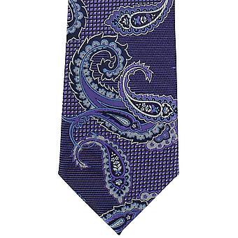 מייקלסון של לונדון Twill פייזלי פוליאסטר עניבה-סגול