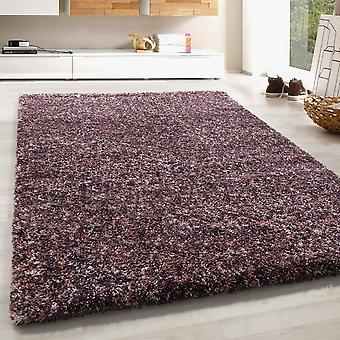 High Flor Shaggy Rug Soft Long Floral Carpet Colorful Taupe Mauve Rose Cream Melted