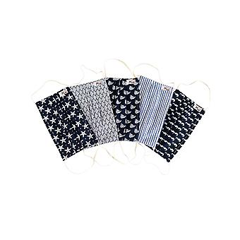 Mio UTS5PK Under the Sea Navy Cotton 5 Pack Face Masks Set with Removable Nose Wire