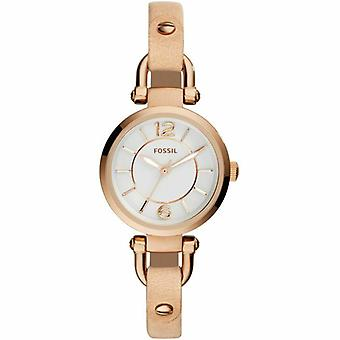 Fossil ES3745 Georgia White Dial Beige Leather Ladies Watch