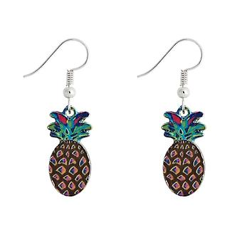 Tin Alloy and Enamel Pineapple Drop Earrings