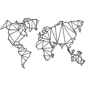 Wall Decoration World Map Series Black Color in Metal 120x1.5x72 cm