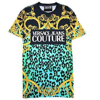 Versace Jeans Couture Leopard Print Fet T-shirt Svart