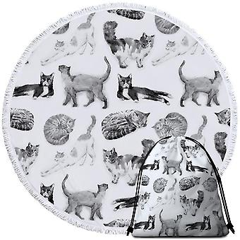 Black and White Cats Beach Towel