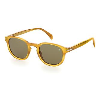 David Beckham DB1007/S B4L/QT Yellow Horn/Green Sunglasses
