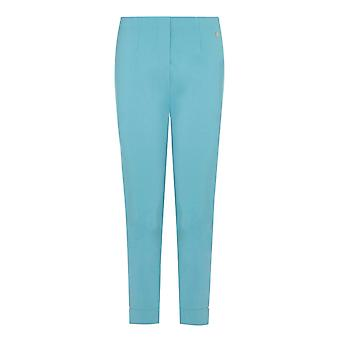 PENNY PLAIN Turquoise Cropped Bengaline Trousers