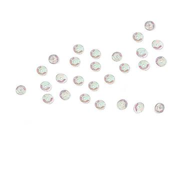 800 Iridescent White 5mm Round Cupped Sequins for Crafts