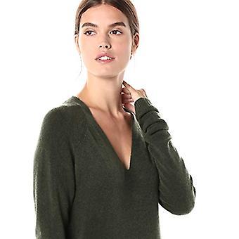 Marke - tägliche Ritual Frauen's Mid-Gauge Stretch V-Ausschnitt Pullover Kleid, Olive, Medium