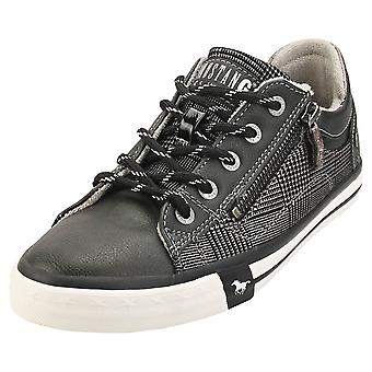 Mustang Side Zip Low Top Womens Casual Trainers in Graphite