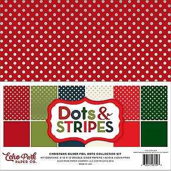 Echo Park Christmas Silver Foil Dot 12x12 Inch Collection Kit