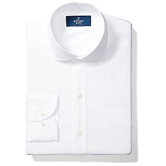 BUTTONED DOWN Men's Slim Fit Cutaway Collar Solid Non-Iron Dress Shirt (Pocke...