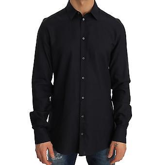 Dolce & Gabbana blau formalen Slim Fit Baumwoll-Shirt--TSH2480688