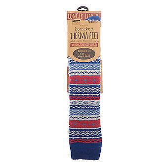 Homeknit Patterned Wellington Boot Socks Men's Blue