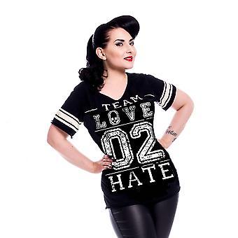 Heartless - love 2 hate - womens black t-shirt