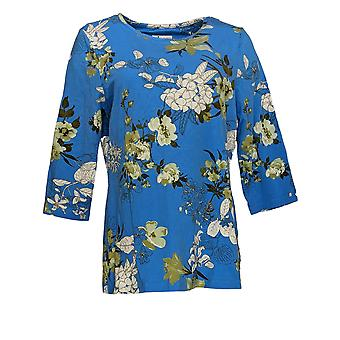 Denim & Co. Kobiety&s Regular Top Floral Print 3/4-Sleeve Top Blue A350014