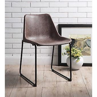 Vintage Look Faux Leather Mocha Brown Side Chairs Set of 2